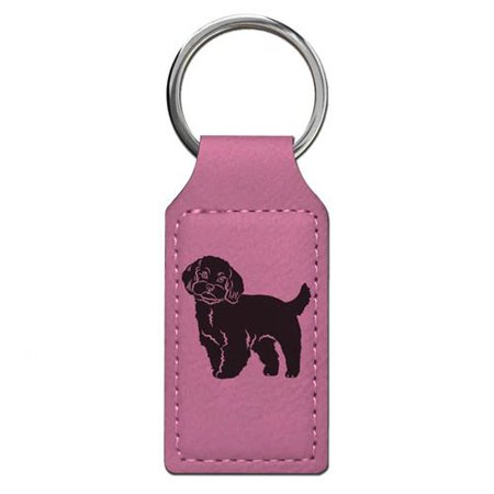 Keychain - Maltese Dog - Personalized Engraving Included (Pink (Engraved Maltese)