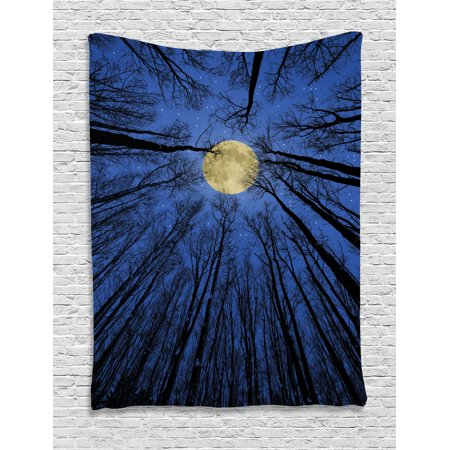 Forest Home Decor Tapestry  Full Moon Illumination In Woods Star Night Heavenly Lunar Treetops Up Space Art  Wall Hanging For Bedroom Living Room Dorm Decor  60W X 80L Inches  Blue  By Ambesonne