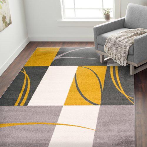 Ebern Designs Cardenas Contemporary Boxes Gray/Gold Area Rug