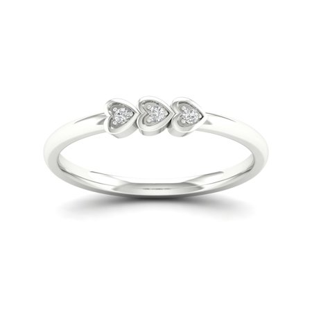 - 1/20Ct TDW Diamond Sterling Silver Three Hearts Ring