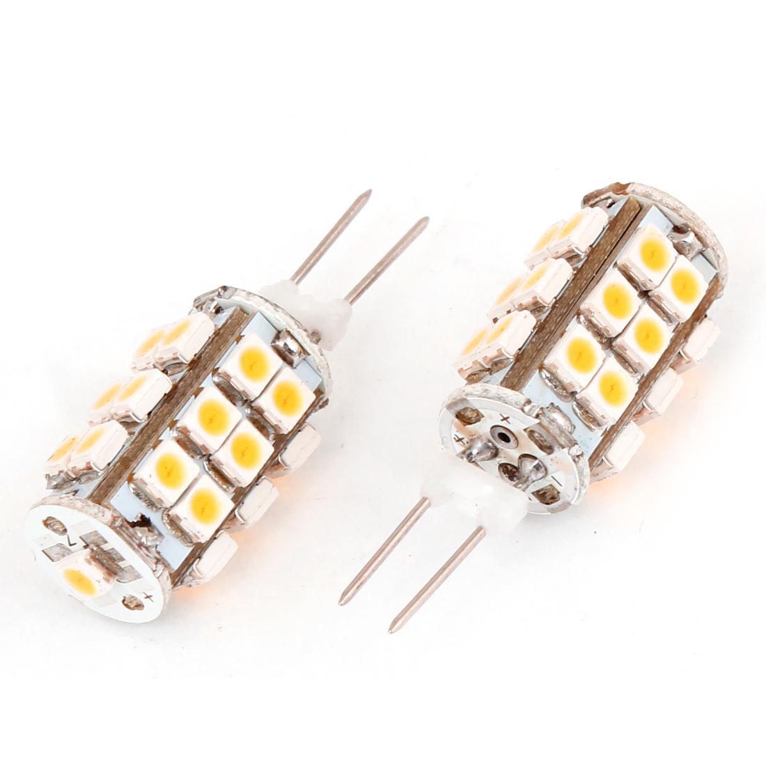 Unique Bargains 2 Pcs G4 Warm White 1210 SMD 25 LED Car Dashboard Light Lamp Bulbs