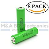 LG INR 18650 MJ1 High Drain 3.7V 10A 3500mAh Li ion Rechargeable Flat Top Battery 8 Pack by M A BD Electron