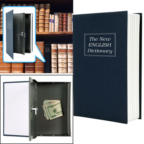 Trademark Dictionary Diversion Book Safe with Key Lock, Metal