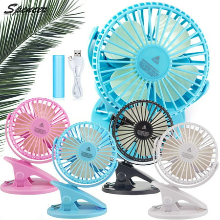 Spencer Battery Operated Clip on Desk Fan, Portable Rechargeable USB Mini Quiet Fan 360°Rotation Personal Cooling Table Fans for Baby Stroller Car, Camping, Office, Home