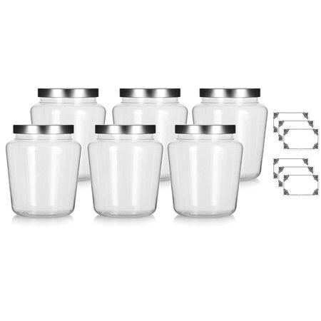 Clear 32 oz Tapered PET Plastic (BPA Free) Large Refillable Jar with Silver Metal Lids - (6 pack) + Labels](Large Jar)