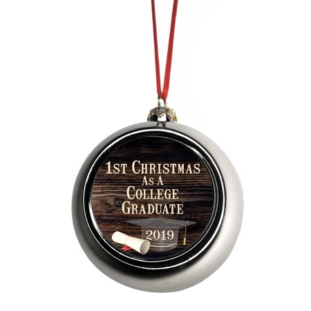 1st Christmas As A College Graduate 2019 First Ornaments Bauble Christmas Ornaments Silver Bauble Tree Xmas Balls