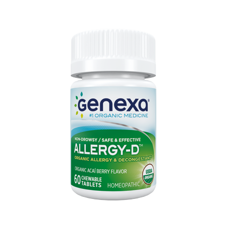 Genexa Homeopathic Allergy Medicine: Certified Organic, Physician Formulated, Natural, Non-Drowsy, Non-GMO Verified Decongestant. Helps Provide Seasonal Allergy Relief (60 Chewable