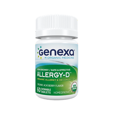 Allergy Chewable Tablets - Genexa Homeopathic Allergy Medicine: Certified Organic, Physician Formulated, Natural, Non-Drowsy, Non-GMO Verified Decongestant. Helps Provide Seasonal Allergy Relief (60 Chewable Tablets)