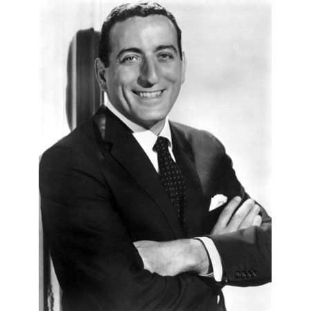 Tony Bennett Posed in Black Suit With Microphone Print Wall Art By Movie Star News - Pope Suit