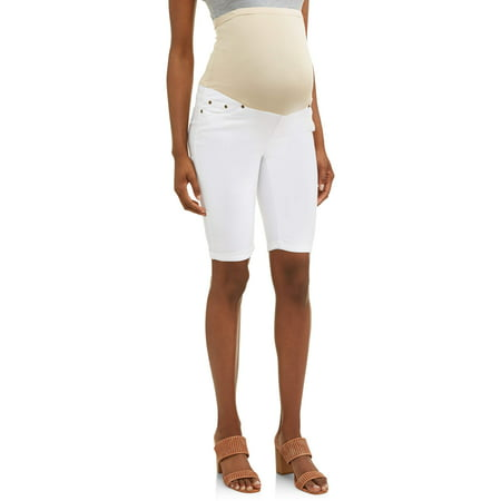 Oh! Mamma Maternity Over Belly Twill Bermuda Shorts - Available in Plus Sizes