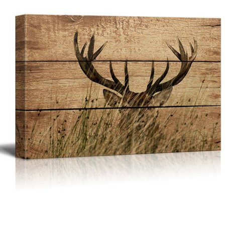 wall26 - Rustic Canvas Wall Art - Elk Antler - Giclee Print Modern Wall Decor | Stretched Gallery Wrap Ready to Hang Home Decoration - 24x36 -