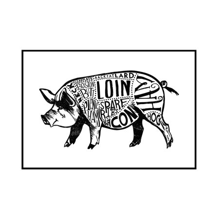 Pork - Butchers Block Meat Cuts - Black Pig on White - Lantern Press Artwork (18x12 Framed Gallery Wrapped Stretched - Black & White Pig