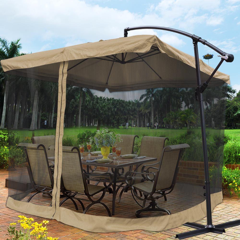 Yescom 9 Tan Outdoor Patio Offset Umbrella W Aluminum Tilt 200g Pa Cover Shade Mosquito Net Mesh