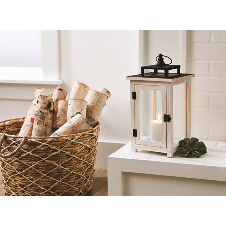 Better Homes & Gardens, Wood and Metal Lantern White