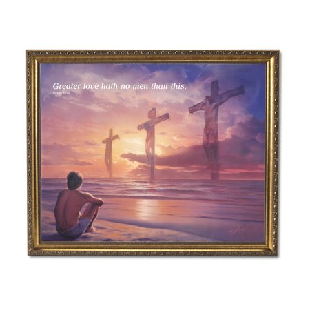 Jesus On Cross Greater Love Ocean Religious Wall Picture Gold Framed Art - Framed Ocean Pictures