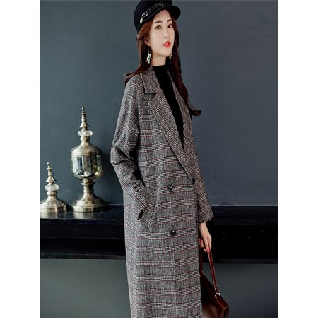 Women Fashion Plaid Vintage Winter Warm Long Sleeve Button Woolen Jacket Coat ()