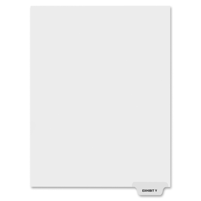 "Kleer-Fax 80000 Series Preprinted Bottom Tab Index Divider - Printed Exhibit Y - 8.50"" Divider Width x 11"" Divider Length - Letter - White - 25 / Pack"