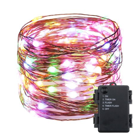 66ft 200 LED Timer Function Battery Powered Copper Wire String Light Fairy Light ​ Home Christmas Decoration Multicolor