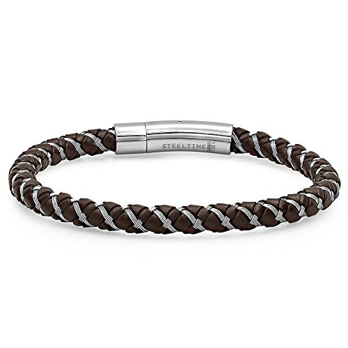 STEELTIME Men's Two Tone Stainless Steel and Brown Leather Twist Bracelet