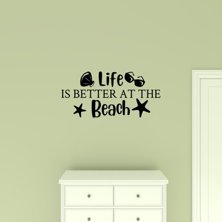 Life Is Better at the Beach Decal Decor Wall Quote Vinyl Lettering Nautical Coastal Ocean Theme Decal Sticker ()