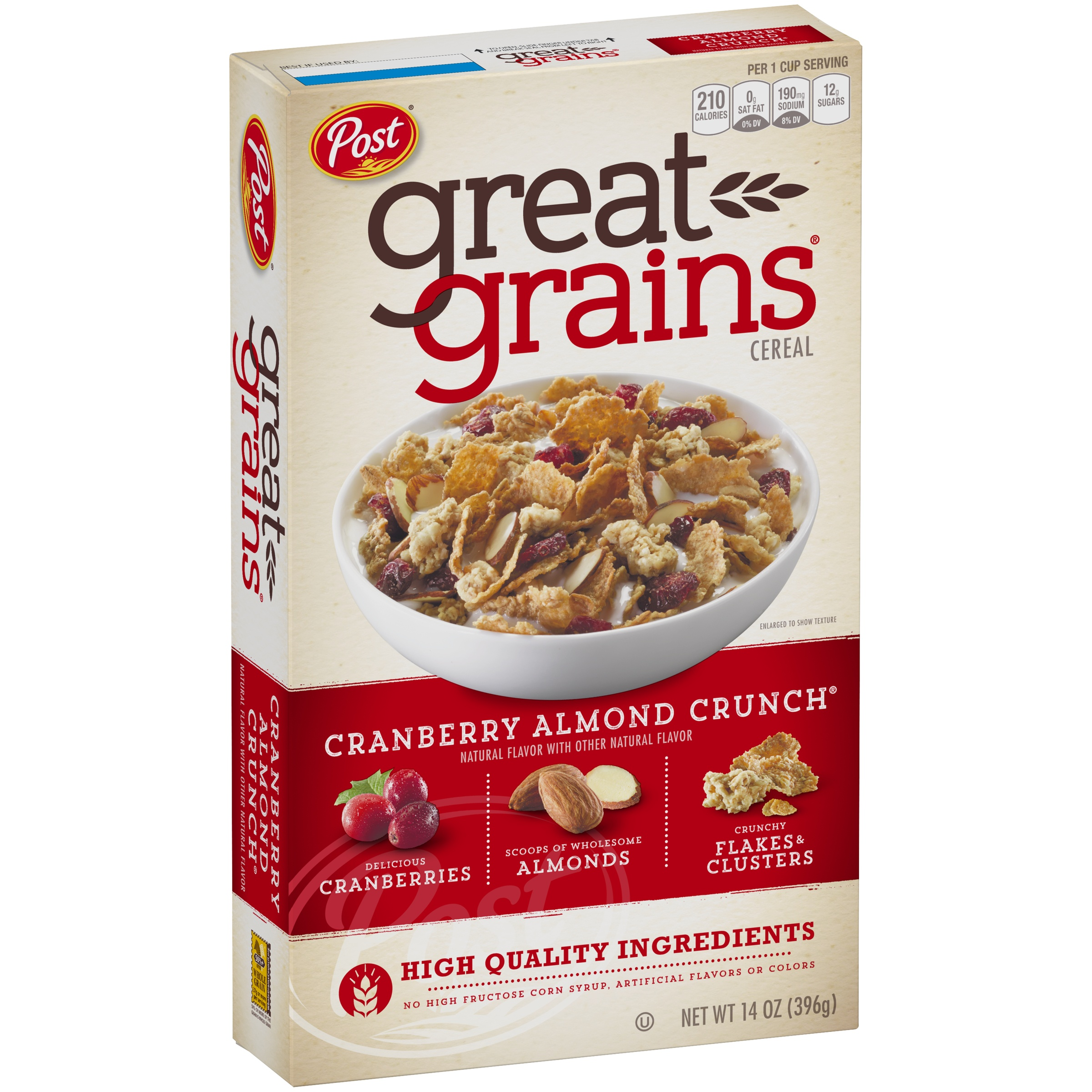 Post Great Grains Cranberry Almond Crunch Whole Grain Cereal 14 oz. Box