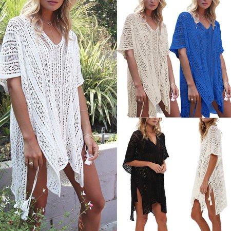 Women Bikini Cover Up Hallow Crochet Beach wear Dress Summer Bathing Suit Blouse](Summer Suit)