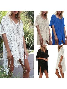 d1c13cd0e0 Product Image Women Bikini Cover Up Hallow Crochet Beach wear Dress Summer Bathing  Suit Blouse