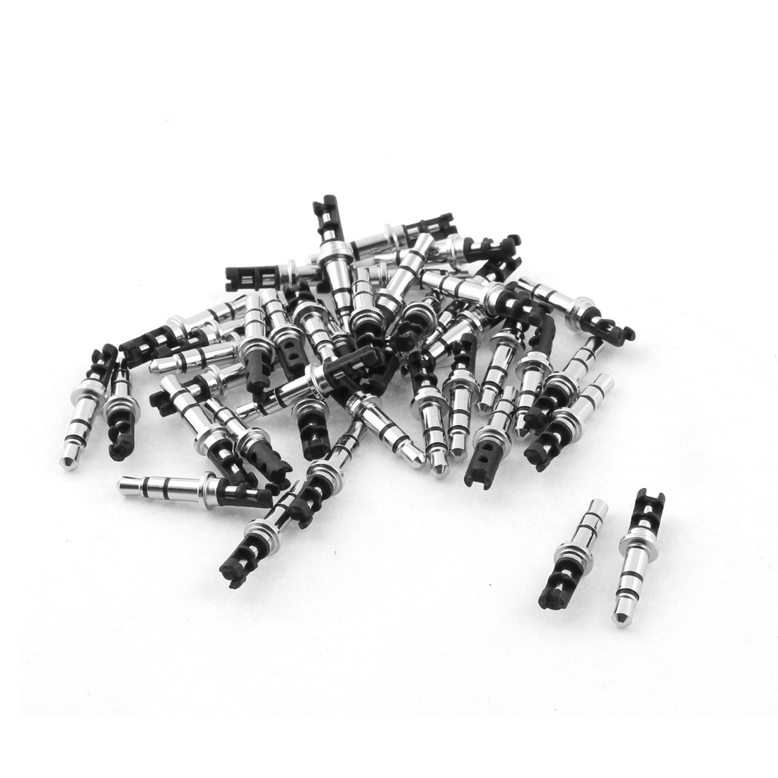 35mm Stereo Male Plug Repair Audio Headphone Jack Solder Connector Wiring Black 40pcs