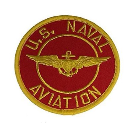 US NAVAL AVIATION W/ WINGS BADGE PATCH PILOT NAVIGATOR SCARLET GOLD