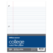"Office Depot® Brand Notebook Filler Paper, College Ruled, 8"" x 10 1/2"", White, Pack Of 500 Sheets"
