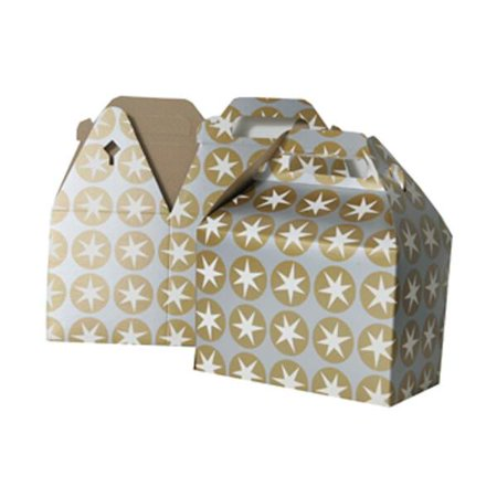 JAM Paper® Gable Gift Box with Handle - Medium - 4 x 8 x 5 1/4 - Silver & Gold Stars Design - Sold