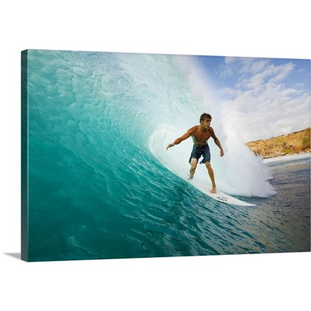 Great BIG Canvas | MakenaStock Media Premium Thick-Wrap Canvas entitled Hawaii, Maui, Kapalua, Surfer Tides Perfect Wave At Honolua Bay