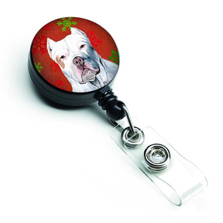 Pit Bull Red & Green Snowflakes Holiday Christmas Retractable Badge Reel - image 1 de 1