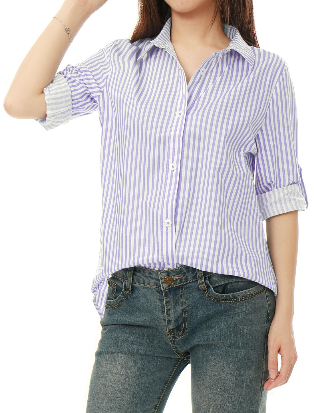 a3013010 Allegra K Women Striped High Low Hem Roll Up Sleeves Shirt Light ...