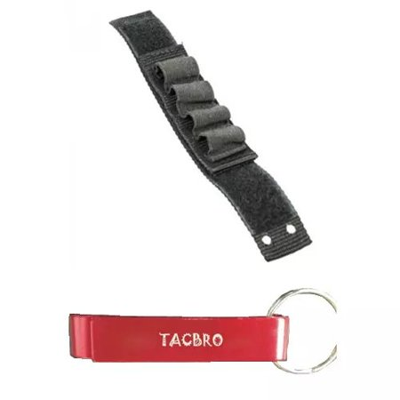 TACBRO 12/20GA Shotgun Shell Strap - 4 Round with One Free TACBRO Aluminum Opener(Randomly Selected Color) (Shotgun Pump Strap)