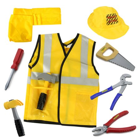 TopTie Engineer Worker Role Play Costumes Set With Tools, 3-8 Years-Yellow-S - Diy Construction Worker Costume