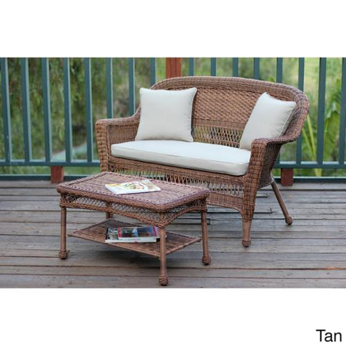 Honey Wicker Loveseat and Coffee Table Set Tan