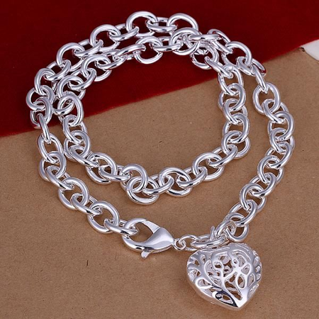 Scroll Heart - ON SALE - Fancy Scroll Puffed Heart Charm Necklace Silver