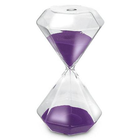 Optical Crystal Diamond Paperweight - KOVOT KO-215 15 Min Diamond Shape Hourglass Sand Timer & Paperweight, Purple