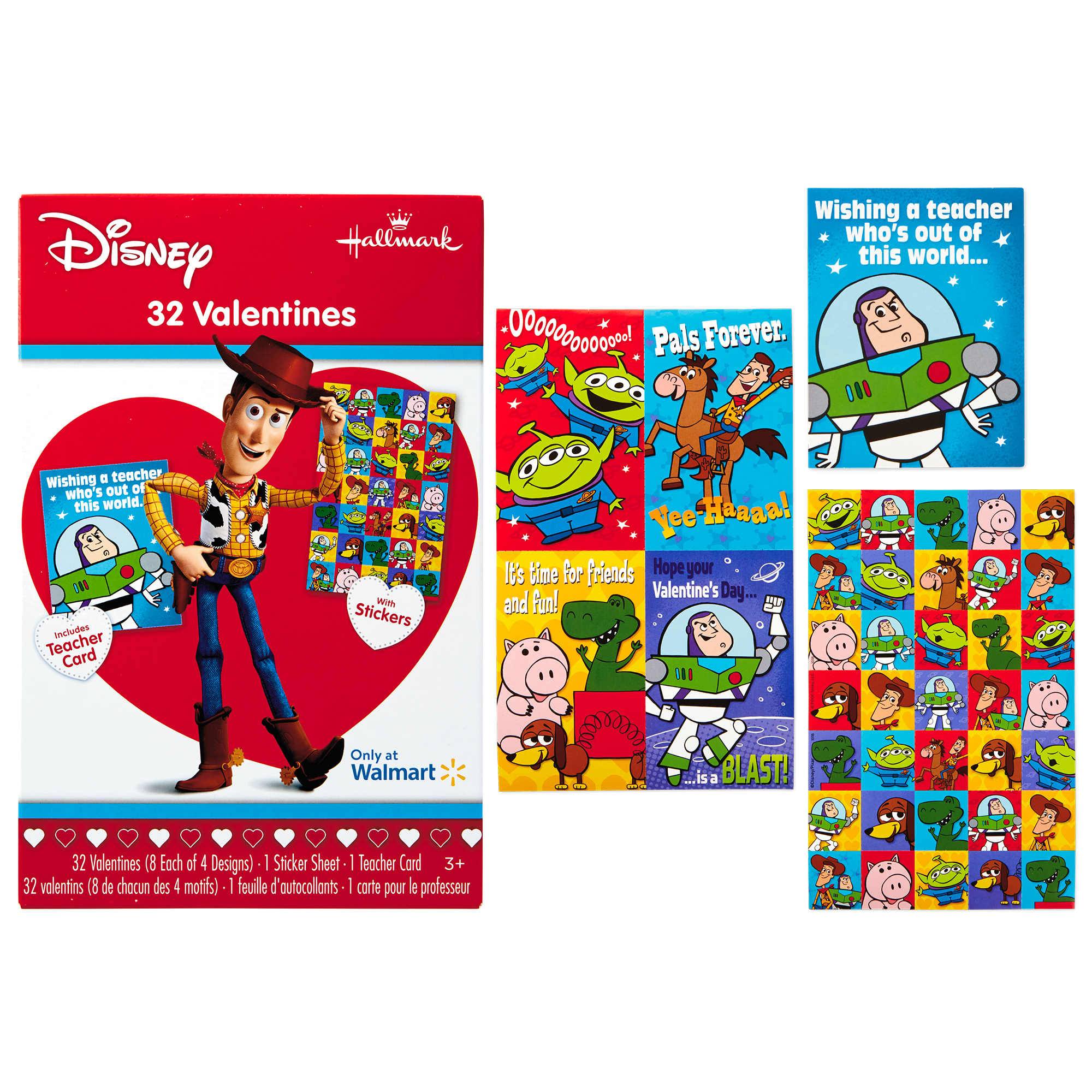 Hallmark Toy Story Valentine's Day Cards (32 Cards, 35 Stickers, 1 Teacher Card)