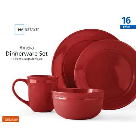 Mainstays Amelia Red Sedona Dinnerware Set, 16 Piece