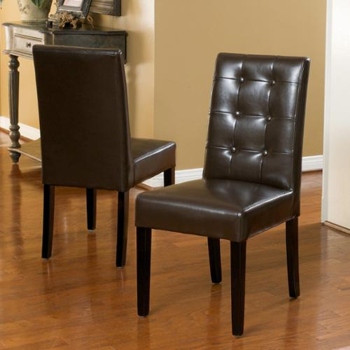 Christopher Knight Home Roland Brown Bonded Leather Dining Chairs (Set of 2) by