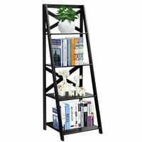 Costway 4-Tier Ladder Shelf Bookshelf Bookcase Storage Display Leaning Home Office Decor