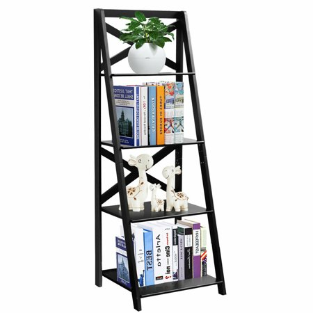 Costway 4-Tier Ladder Shelf Bookshelf Bookcase Storage Display Leaning Home Office Decor ()