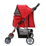 Magshion Premium Quality Pet Cat Dog Stroller Travel Carrier Light Weight Red