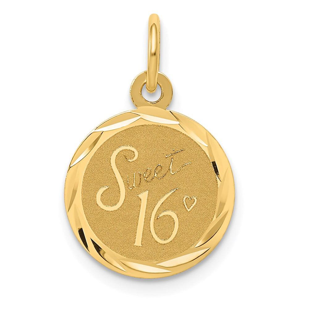 14k Yellow Gold Engravable Sweet Sixteen Disc Pendant