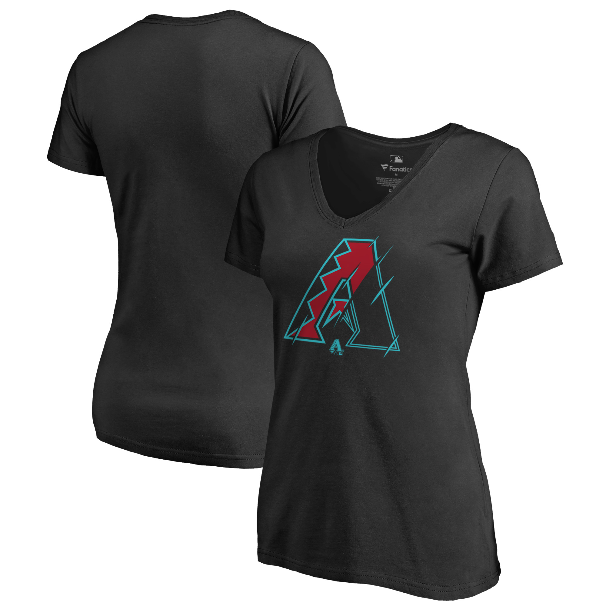 Arizona Diamondbacks Fanatics Branded Women's X-Ray V-Neck T-Shirt - Black