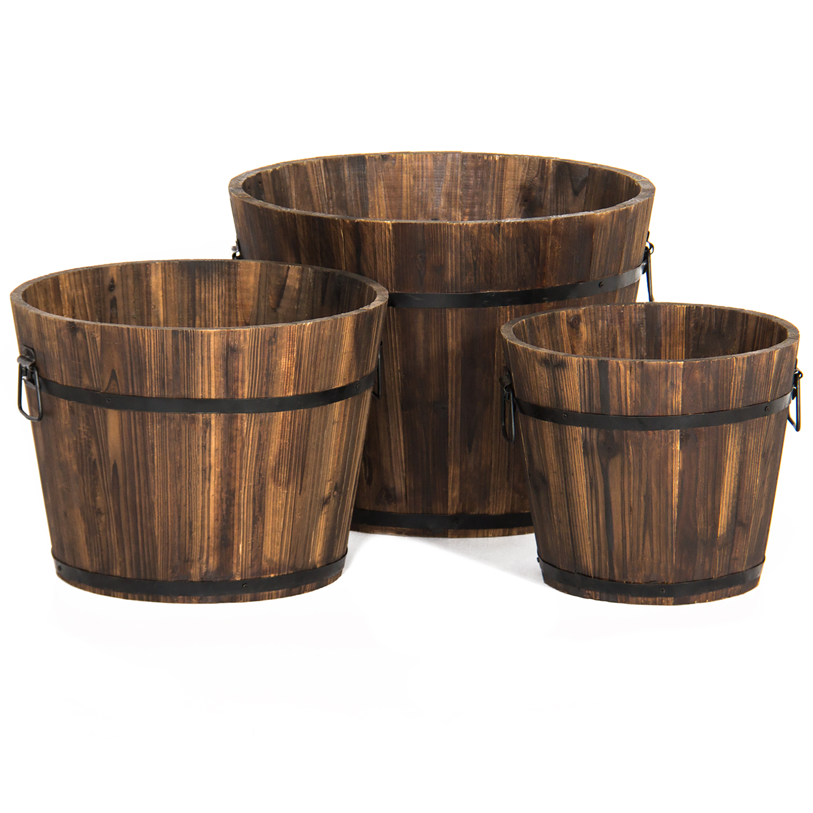 Best Choice Products Set of 3 Indoor/Outdoor Wood Barrel Planter w/ Drainage Holes - Brown
