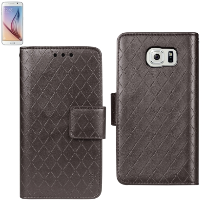 Wallet Case 3 In 1 For Samsung Galaxy S6 Rhombus Pattern Sm-G920T, Sm-G920P, Sm-G920A, Sm-G920V, Sm-G920R Brown