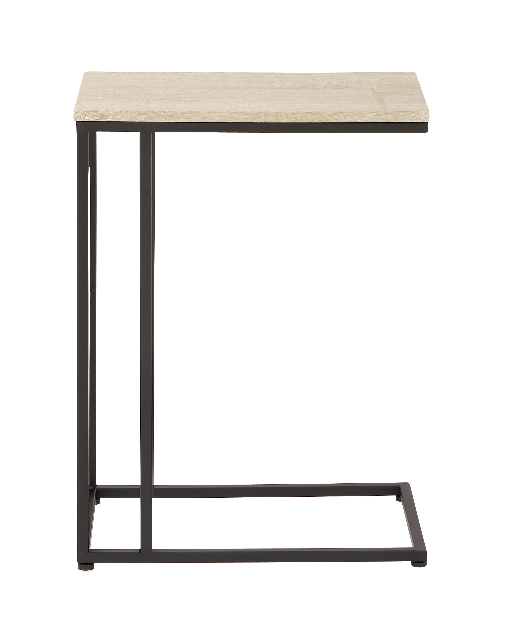 Decmode Contemporary Wood and Iron C-Shaped Accent Table, Cream by DecMode